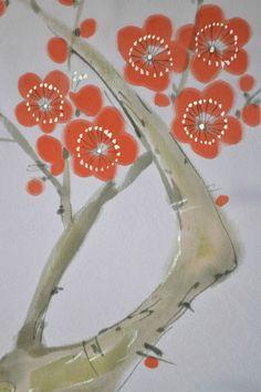 VINTAGE SILK WEDDING FABRIC:Handpaint Tree Peony/Plum Blossom@N12