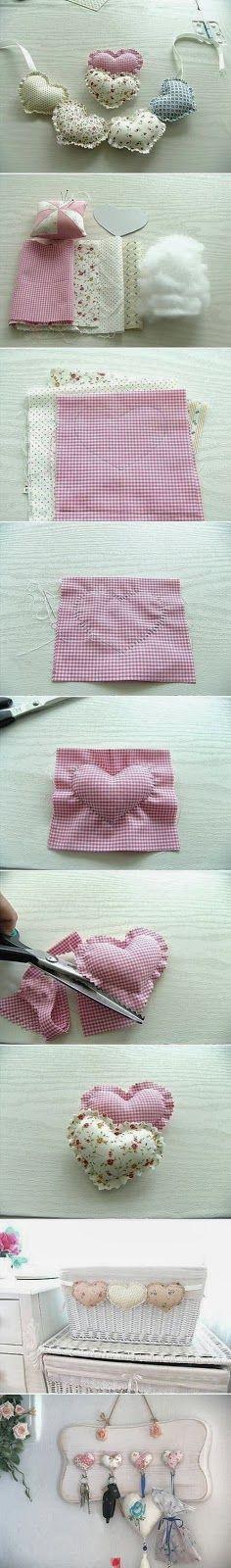 DIY Fabric Heart Pendant by wanda Sewing Hacks, Sewing Crafts, Sewing Projects, Diy Projects, Sewing Ideas, Felt Crafts, Diy Crafts, Fabric Hearts, Creation Deco