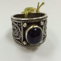 Black onyx filigree silver ring.  Ring sz. 14.  Priced at $86.  Visit:  http://www.eds-creation.com.sg