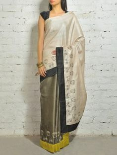 Beige-Black Kosa Silk Saree