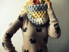 Love the cowl and her squirrel sweater~  from loveandknit