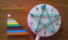 Un Cajón Cualquiera: DIY tabla Waldorf, aprender a multiplicar con colores y formas geometricas