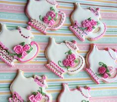 Tea Party Cookies - Sugar cookies iced in RI with RI roses