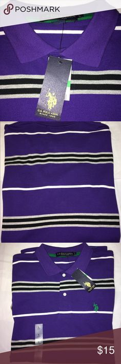NWT U.S. POLO ASSN. Polo Men's Size Large NWT U.S. POLO ASSN. Short Sleeve Polo Shirt Men's Size Large  Color: Purple stripes   New With Tags  Thank you for viewing my product. If you have any questions please contact me. U.S. Polo Assn. Shirts Polos