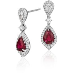 Blue Nile Ruby and Diamond Drop Earrings (119.985 CZK) ❤ liked on Polyvore featuring jewelry, earrings, round diamond earrings, diamond earring jewelry, 18k earrings, diamond jewellery and round earrings