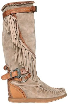 $550 - EL VAQUERO 70mm Silverstone Fringed Wedged Boots - EVERYSTORE