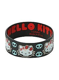Hello Kitty Day Of The Dead Rubber Bracelet Rubber Bracelets, Jewelry Bracelets, Bangles, Jewellery, Hello Kitty Merchandise, Hello Kitty Cartoon, Hello Kitty Backpacks, Senior Photo Outfits, Hello Kitty Jewelry