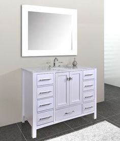 Image Gallery For Website Stufurhome inch Malibu Pure White Single Sink Bathroom Vanity with Mirror