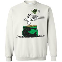 Happy Saint Patrick Day Peanuts Snoopy jumping into Coin Pot T shirt Hoodie Sweater