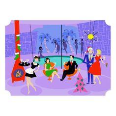 Retro Tropical Christmas Party Holiday Invitations