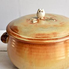 Ceramic Owl lidded casserole dish handmade pottery baking dish with Tree Branch Handles 4 quart via Etsy