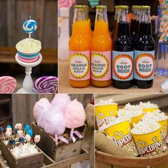 FOOD: CUPCAKES on candlesticks!? Who comes up with these things!? The cake pops are in an aged box filled with what appears to be popcorn. The cotton candy is in another aged box filled with peanuts! And the popcorn cups are in a wooden basket filled with burlap.