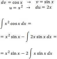 solving the integral of x^2·cos(x)  by parts