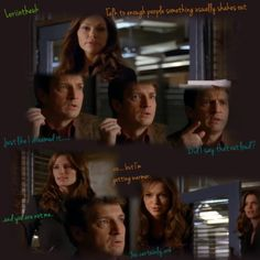""""""" Lots of great facial expressions in this episode! Castle Season 3, How To Get Warm, Facial Expressions, Out Loud, It Cast, Posters, Fan Art, People, Image"""