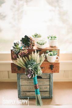 My DIY Succulent Bouquets, succulent boutonnieres & milk glass succulent centerpieces