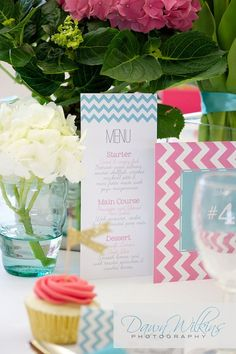 Chevron Wedding menu stationery by LizzyMayDesign on Etsy