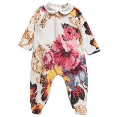Girls Floral Velour Babygrow by Roberto Cavalli