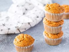 A Healthy Fall Breakfast Whole Made with whole wheat flour and less sugar than other muffin recipes these wholesome treats are wonderful as a fall breakfast or snack. Pumpkin Muffin Recipes, Pumpkin Spice Muffins, Pumpkin Bread, Pumpkin Puree, Dairy Free Pancakes, Vegan Muffins, Vegan Egg Substitute, Vegan Brunch Recipes, Fall Breakfast