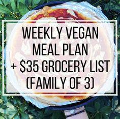 Weekly Vegan Meal Plan 35 Grocery List Family of 3 Vegan Budget, Cheap Vegan Meals, Vegan Recipes Easy, Cheap Vegan Meal Plan, Cheap Lazy Vegan, Veggie Recipes, Family Meal Planning, Budget Meal Planning, Budget Meals
