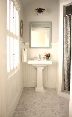 for the love of a house: the guest bath love the honed marble haxagon tiles!