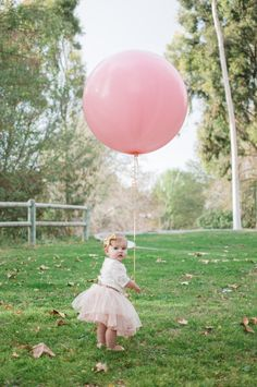 Film style baby portraits , Blair Nicole Photography. Giant pink balloon. First Birthday photos