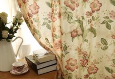 Asian Insulated Floral Beige Cotton/Linen Beige Bedroom Elegant Curtains And Drapes