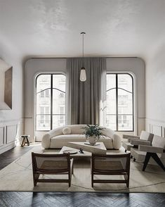 Image via @koola.suchus 〰️ Living Room Interior, Home Interior, Interior Architecture, Living Room Decor, Interior Decorating, Building Architecture, Light Architecture, Concept Architecture, Bedroom Decor