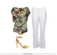 Body Estampado + Calça Flare Branca + Sandália de Tira Amarela #moda #look #outfit #estratosfera #simple #body #estampa #verão #ootd #shop #lojaonline #lnl #looknowlook