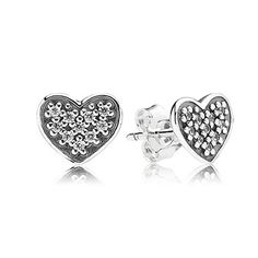 Heart silver stud earring with pave set CZ #Pandora #ValentinesDay #love