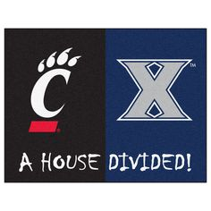 Xavier / Cincinnati NCAA House Divided Rugs 33.75x42.5