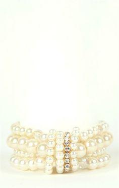 Plus Size Stretch Pearl Bracelet with Rhinestone Knot