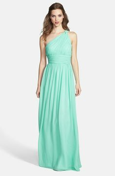 Donna Morgan 'Rachel' Ruched One-Shoulder Chiffon Gown (Regular & Plus) | Nordstrom  @Amber Ladage  @Bonnie Oldengarm  @Lindsey Hernandez @Andrea Moser @Jessica Annaheim Hey girls, I think I am in love with this dress.