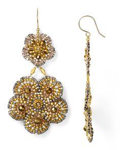 Miguel Ases Swarovski Double Flower Drop Earrings   Bloomingdale's