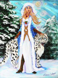 Painting of Nordic Goddess Freya with snow Leopard. Nordic Goddesses, Gods And Goddesses, Nordic Art, Nordic Design, Solar Mass, Winter Solstice, Snow Leopard, Fine Art America, Original Paintings