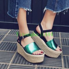 Womens Chic Metallic Cow Leather Gladiator Sandals Platform Wedges Creepers
