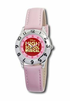 Disney Kids' D049S401 High School Musical Pink Leather Strap Watch Disney. $22.50. Case diameter: 28.3 mm. Metal case; red dial. Quartz movement. Water-resistant to 99 feet (30 M). Mineral crystal