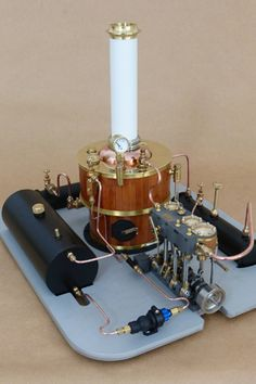 Martin Triple Marine Steam Engine Plant with Water Pump Mounted Boat Engine, Steam Engine, Live Steam Models, Steam Boats, Steam Boiler, Maker Shop, Small Engine, Heart For Kids, Scale Models
