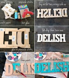 Popsicle sticks to connect wooden letters! Why haven't I thought of this!!!