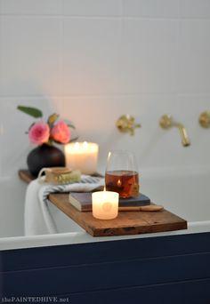 Pretty wood plank bathroom tray