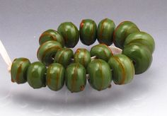 Lampwork bead set green round beads orange by AnneLondezGlass, $42.00