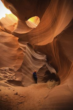 Antelope Canyon was formed through the erosion of Navajo Sandstone, initially due to flash flooding, and then probably due to subaerial processes.  Read more at http://www.zmescience.com/science/geology/awesome-geology-pictures-17/#PoWhyZSRwXArLIsF.99
