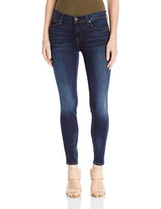 7 For All Mankind Women's the Ankle Skinny Jean, Heritage Night, Ankle-length skinny jean in dark-tone denim featuring whiskering and fading to the knees. Five-pocket styling. Zip fly with button. Best Jeans For Women, Jeans Brands, All About Fashion, Jean Outfits, Fashion Pants, Cool Designs, Skinny Jeans, Print Denim, Pocket