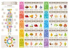 Healthy Food List, Diet Food List, Food Lists, Healthy Eating, Mineral Chart, Vitamin A Foods, Magnesium Foods, Food Charts, Food Icons