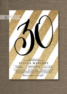 Black & Gold Birthday Party Invitation Stripes Gold Glitter White ANY AGE Milestone Birthday 30 40 50 Printable Digital or Printed- Stella on Etsy, $20.00