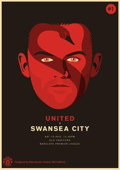Manchester United vs Swansea City, 16 August Designed by Manchester United Poster, Liverpool Poster, Official Manchester United Website, Manchester United Football, Manchester City, Wayne Rooney, Swansea, Barclay Premier League, Football Design