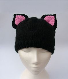 Cat hat animal beanie with ears handmade knitted kitty cat black hat with Pink ear inserts Knitted Cat, Knitted Animals, Beanie With Ears, Baby Cats, Baby Kitty, Funny Hats, Animal Hats, Ear Hats, Cat Ears