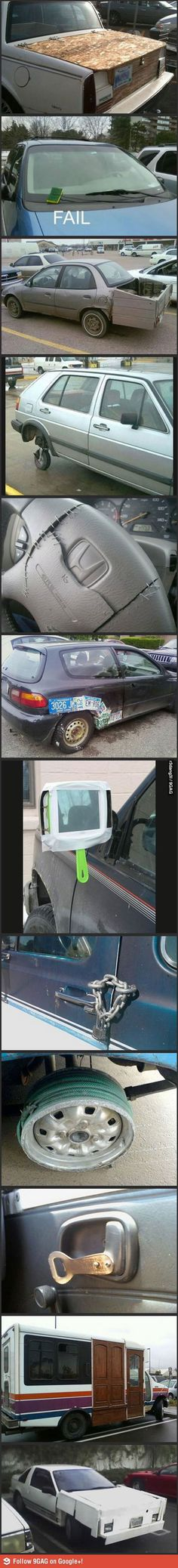 There, it's fixed now… haha the funny/stupid things people do to fix their cars. Funny Fails, Funny Memes, Jokes, Fix My Car, Car Fails, Haha, I Love To Laugh, Laughing So Hard, Funny Photos