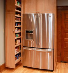 Smart space saver for the kitchen.  Pull out pantry cabinet has been a plus in 'staging' kitchens. Very smart.