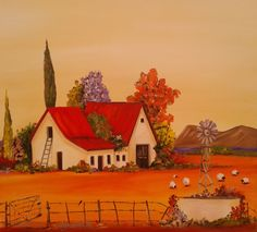 Farmhouse 2 ~ by Annabelle South African Artist, oil on canvas Watercolor Landscape Paintings, Mural Painting, Ceramic Painting, House Painting, Landscape Art, Painting & Drawing, Cape Dutch, Art Houses, South African Artists