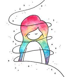 Little colorful girl - Zeichnung İdeen bleistift - Art Sketches Kawaii Drawings, Art Drawings Sketches, Cute Drawings, Art Drawings Easy, Pencil Drawings, Colorful Drawings, Pencil Art, Lead Pencil, Galaxy Drawings